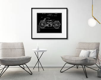 Harley Davidson Patent Print Matted and Framed or Just Matted and Ready for Your Frame