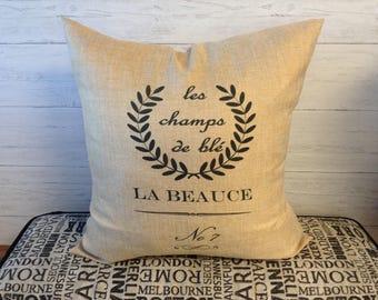 Polyester Washable Burlap, Vintage French Grain Sack replica pillow, Rustic design, Burlap throw pillow, toss pillow, home decor