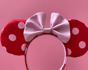 Rock The Dots Minnie Mouse Inspired  Millenial Pink Mouse Ears Polka Dot Satin Mickey ears Disney