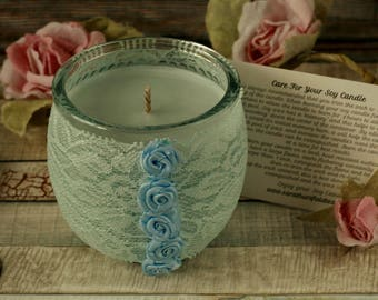 Soy candles handmade, blue gift, shabby chic candle holder, lace candle, shabby chic gift, candle gift, blue candle, floral gift, jar candle