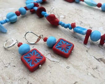 Blue Necklace, Red Necklace Extra Long Necklace Coral Necklace Opera Necklace Boho Necklace Boho Jewelry Boho Chic Birthday Gift For Her