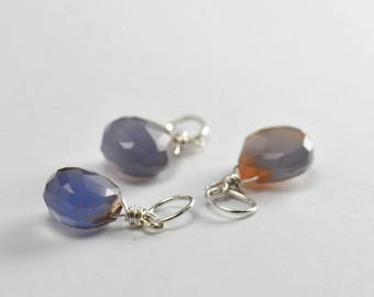 Faceted Blue Chalcedony charm, Interchangeable Charm Necklace, Cluster Necklace