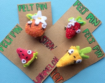 Fruit and Veggie Felt Pins- Hand Sewn and Crafted Brooches