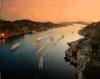 Dreamy landscape, sea picture, fjord photo, Scandinavian art, Sankthans in Norway, night photo with bonfire and boats, 8x10 photograph
