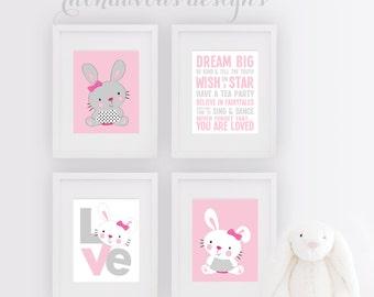Rabbit Bunny Nursery Art - Rabbit Art - Rabbit Decor - Bunny Nursery Print - Girl Bedroom - Bunny - Girl Rules - Girl Nursery Art - NS-704