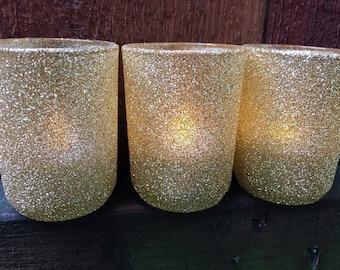 Gold Glitter Votive Holders