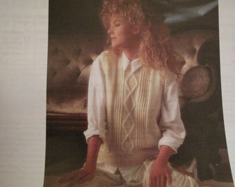 1 Lister Double Knit 5469   1980's ladies V necked sleeveless jumper  original knitting pattern size 30 to 44 inch Ref KP103