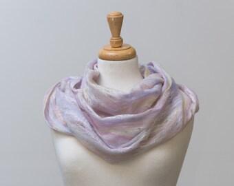 Sale 50% Off Felted scarf, infinity scarf, Cobweb Felted Scarf, Sorbet merino wool and silk fibres, Hole, lattice scarf