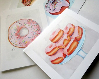 Donut Art Notecards, Cute Cards Breakfast Food Art - Set of Watercolor Art Cards, Set of 8