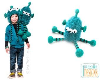 PATTERN ZaZu Space Monster Hat and Toy Set Crochet PDF Pattern