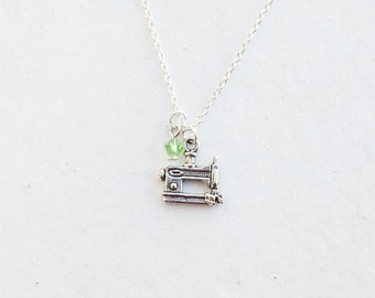 Sewing Machine Necklace- Custom Birthstone- Charm- 925 Sterling Silver or Silver Tone Chain - Jewelry - Industrial Craft