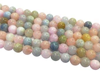 1Full Strand 8mm 10mm Morganite Round Beads, Natural Morganite Bead, Round Morganite Beads, Morganite Gemstone For Jewelry Making