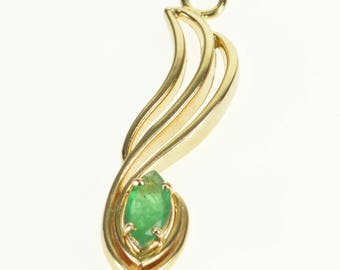 14k Emerald Marquise Prong Inset Wave Curvy Pendant Gold