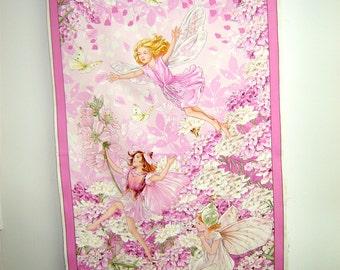 Fabric Miller Petal Fairies PANEL  DC5110 Pink Victorian Style Fairies Flowers Purple border