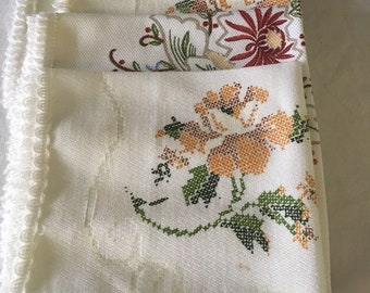 Vintage Embroidered cloth napkins