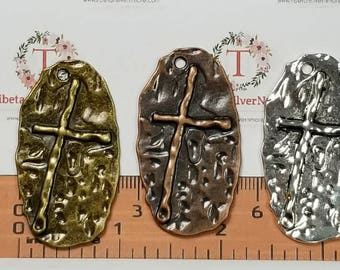 4 pcs per pack 47x26mm Large Oval Hammered Cross stamp Antique Silver, Copper or Bronze Finish Lead Free Pewter
