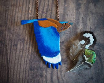 Indian roller enameled copper pendant, blue bird nature inspired pendant, wildlife jewelry, gift for her, long necklace