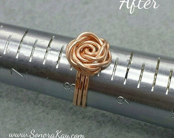 Rose Gold Filled Wire Wrapped Rose Ring Custom Made to Order