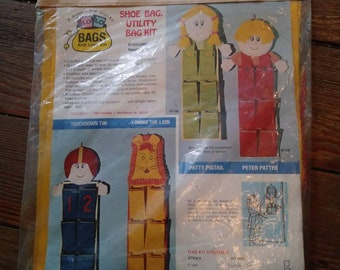 Lonnie The Lion Shoe Bag Utility Bag Kit 1974 Made In USA Orange Yellow Door or Wall Hanging Kids Room