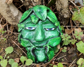 Green Man plaque, Spring Green Man, Pagan God statue, pagan altar decor, jack of the wood, pagan home decor, Spring Equinox, Ostara decor