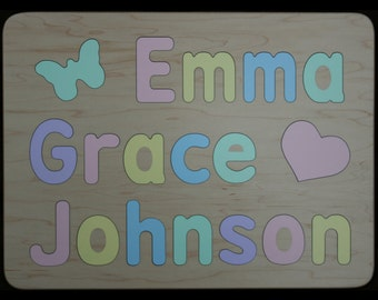 Wood Puzzle for Three Names - Wooden -  Personalized with Mixed Case Letters - Raised Letters - Kids Puzzle Toy - 3 Names Puzzle