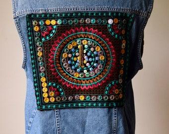 Hand Customised denim mandala jacket/ vintage/ sleepless jacket/ jean jacket/ beaded coat
