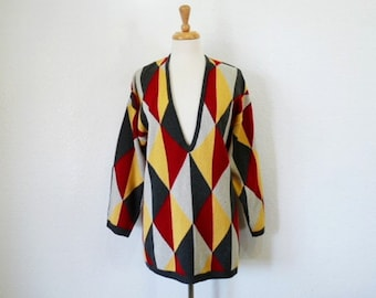 Knit Sweater Geometric design Deep V Neck Long Sleeves Multicolored Tunic Size Large