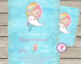 Mermaid Narwhal Watercolor Birthday Party Invitation Front Back Digital File Pool Party Splash Pad Under the Sea Rainbow Hair Gold Glitter