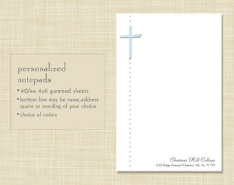 Personalized Notepad -  Christian Cross Religious - choose color and font - stationery - stationary -