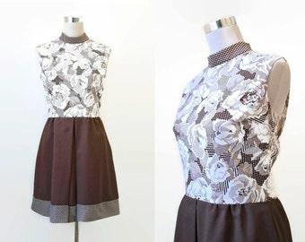 Vintage Mini Dress -  70's Vintage Dress - Twiggy Style - Mod Retro Brown Print Dress