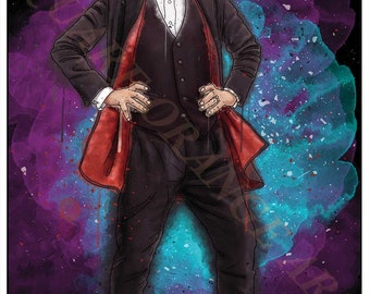Twelfth Doctor Peter Capaldi 12th Dr Who Inspired Splash Style A4 Original Art Print