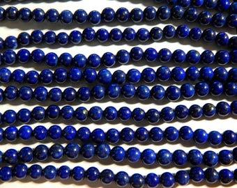4mm A Grade Lapis Lazuli Semi-Precious Round Polished Beads, 15.5 Inch Strand (IND1C52)