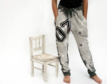 On sale , Women grey  jogger pants decorated with rhinestones and prints