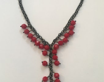 Red Swarovski Beads and Black Gunmetals Chain Necklace with a Heart Pendant