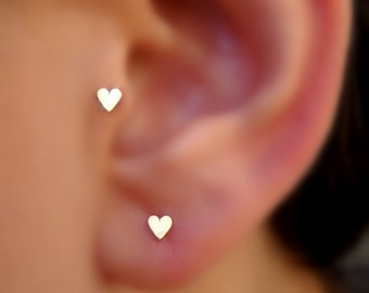 Tragus Earring - Heart Tragus Earring - Cartilage Earring - Nose Ring Stud - 14K Solid Yellow Gold Heart Tragus Stud - Tragus Piercing