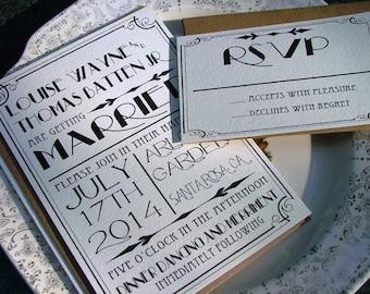 Great Gatsby wedding invitation set, Art Deco Invitations -  Best Selling items