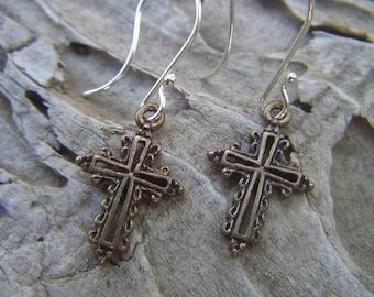 Medieval cross earrings in bronze with sterling silver earwires