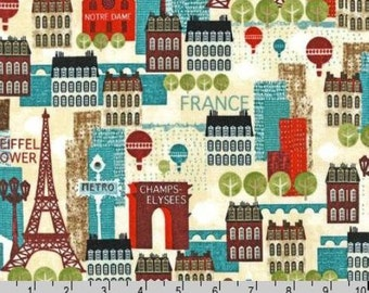 Hello Paris - Multi Homes Cotton Print Fabric by Mo Mullan from Robert Kaufman