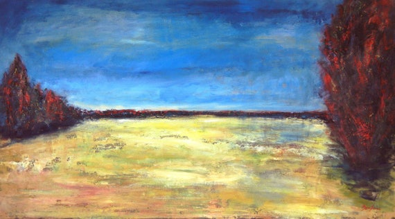 Abstract Landscape Oil Painting Hay Fields Huge Textured 54x30 Contemporary Fine Art by BenWill