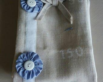 gauge linen embroidered blue Teddy bear head