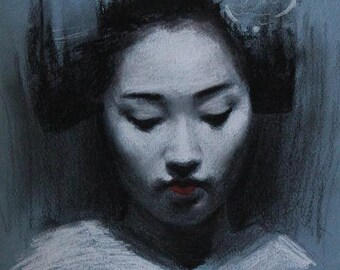 "Blue Maiko - 8"" x 10"" signed digital print of a charcoal drawing - geisha art"