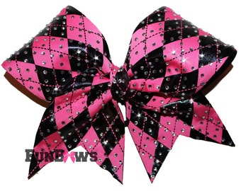 Gorgeous Argyle Hot Pink black Rhinestone Cheer Bow by Funbows !
