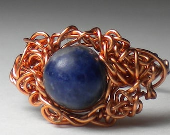 Copper Ring with Gemstone - Made to Order in ANY SIZE - Unique, Modern Wire Jewelry, OOAK Ring Sculpture - On Sale