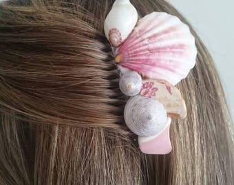 Pink shell comb, pink bridal comb, pink sea pottery comb, bridal headpiece, mermaid comb, boho bride, beach wedding