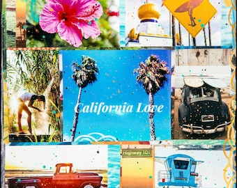 CALIFORNIA LOVE, Giclee, 8x8 and Up, Surfing California, Ocean Art, Encintias, Swamis, North County, Print on Canvas, CA, Summer