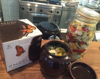 Fermenting at home with eleifs Onggi | Kimchi, sauerkraut, soysauce, vinegar etc. | Eco-friendly & Breahting | fermentation crock (1L)