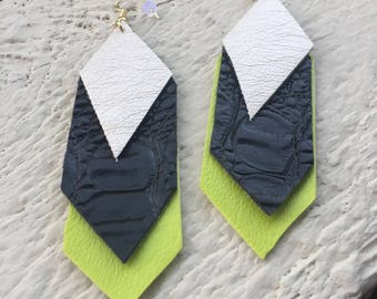 The Vegas - Vinyl Earring - Chartreuse, Black, Silver