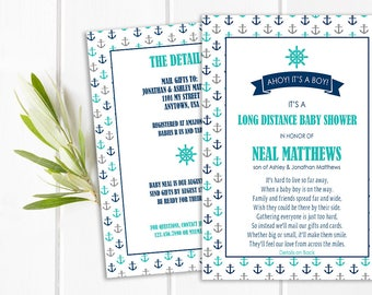 Long Distance Baby Shower Invitation, Ahoy It's a Boy!, Nautical Shower Invite
