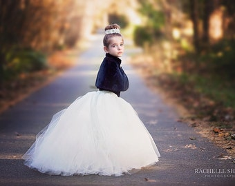 The Katherine - Custom long ballet style tulle skirt with Train - SEWN and Super Full - your choice of colors and length