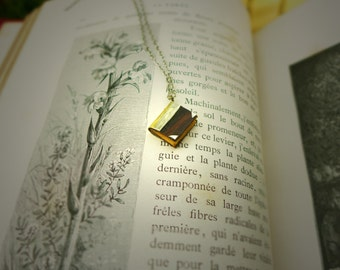 Book necklace mini wood and silver custom made
